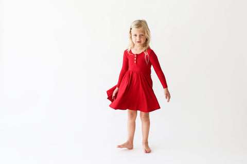 Posh Peanut Long Sleeve Henley Twirl Dress - Crimson Ribbed