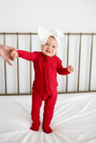 Posh Peanut Zipper Ruffle Footie - Crimson Ribbed