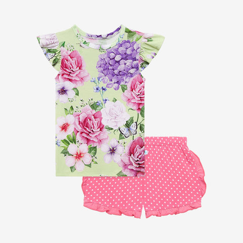 Posh Peanut Ruffled Cap Sleeve TShirt & Ruffled Varsity Short - Georgina - Let Them Be Little, A Baby & Children's Clothing Boutique