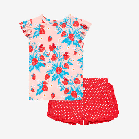 Posh Peanut Ruffled Cap Sleeve TShirt & Ruffled Varsity Short - Strawberry - Let Them Be Little, A Baby & Children's Clothing Boutique