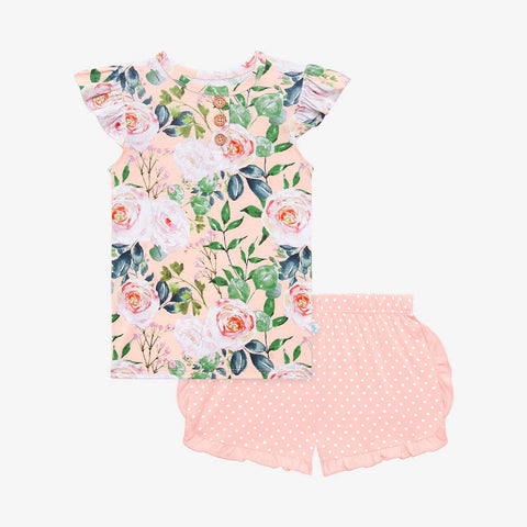 Posh Peanut Henley Ruffled Cap Sleeve TShirt & Ruffled Varsity Short - Harper - Let Them Be Little, A Baby & Children's Clothing Boutique