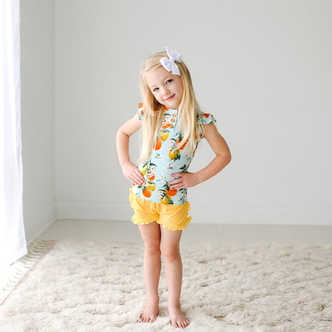Posh Peanut Henley Ruffled Cap Sleeve TShirt & Ruffled Varsity Short - Mirabella - Let Them Be Little, A Baby & Children's Boutique