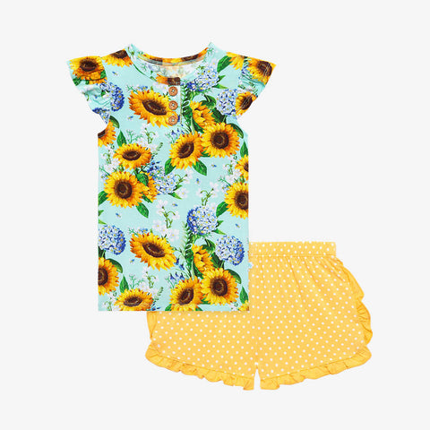 Posh Peanut Henley Ruffled Cap Sleeve TShirt & Ruffled Varsity Short - Sunny - Let Them Be Little, A Baby & Children's Clothing Boutique