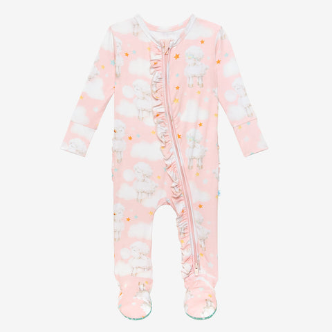 Posh Peanut Ruffled Zipper Footie - Mary - Let Them Be Little, A Baby & Children's Clothing Boutique