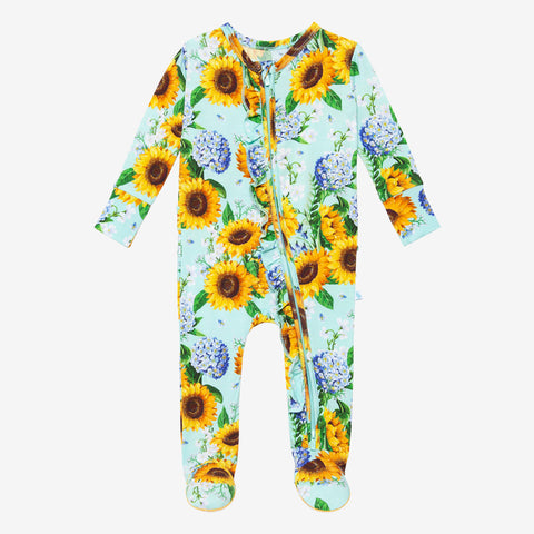 Posh Peanut Ruffled Zipper Footie - Sunny - Let Them Be Little, A Baby & Children's Clothing Boutique