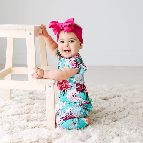 Posh Peanut Ruffled Cap Sleeve Henley Romper - Eloise - Let Them Be Little, A Baby & Children's Boutique