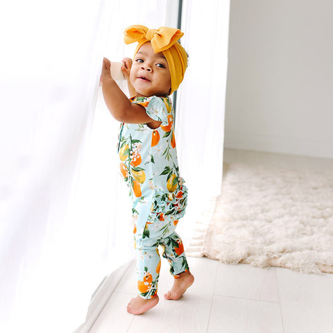 Posh Peanut Ruffled Cap Sleeve Henley Romper - Mirabella - Let Them Be Little, A Baby & Children's Boutique