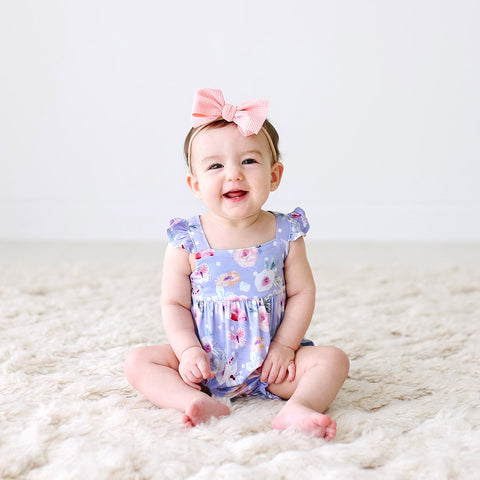 Posh Peanut Ruffled Cap Sleeve Bubble Romper - Samantha - Let Them Be Little, A Baby & Children's Boutique