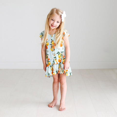 Posh Peanut Henley Ruffled Cap Sleeve Hi Low Dress - Mirabella - Let Them Be Little, A Baby & Children's Boutique