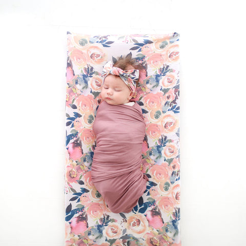 Posh Peanut Changing Pad Cover - Dusk Rose