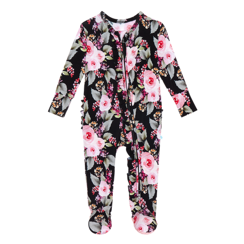 Posh Peanut Ruffled Zipper Footie - Milana - Let Them Be Little, A Baby & Children's Boutique
