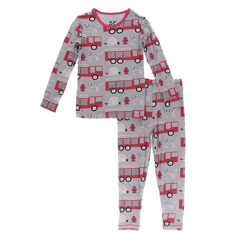 Kickee Pants Printed Long Sleeve PJ Set - Feather Firefighter