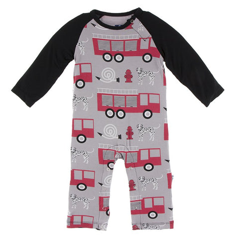 Kickee Pants Printed Long Sleeve Raglan Romper - Feather Firefighter