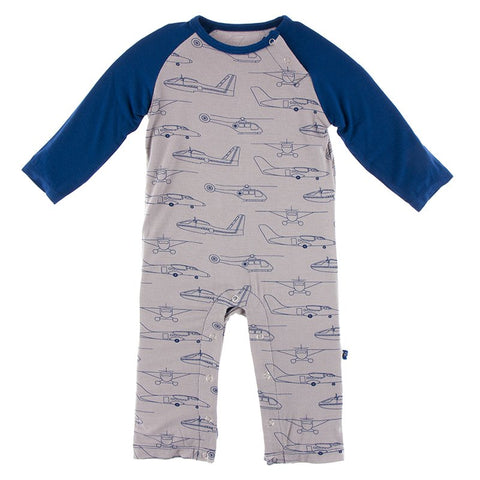Kickee Pants Printed Long Sleeve Raglan Romper - Heroes in the Air - Let Them Be Little, A Baby & Children's Boutique