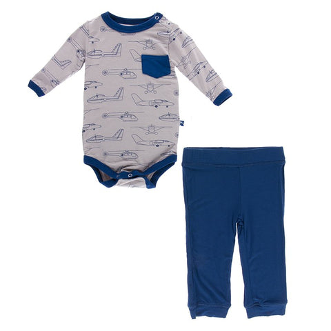 Kickee Pants Print Long Sleeve One Piece and Pant Outfit Set - Feather Heroes in the Air - Let Them Be Little, A Baby & Children's Boutique