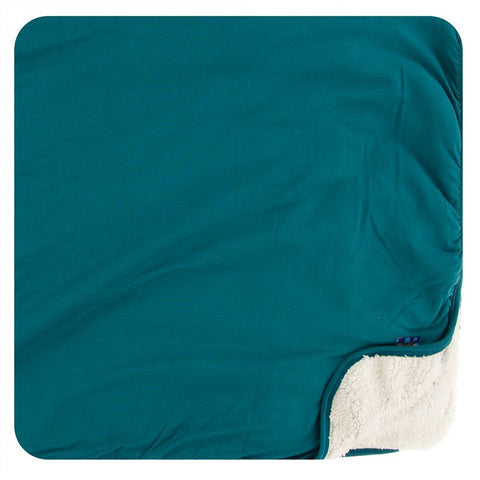 Kickee Pants Sherpa-Lined Toddler Blanket - Solid Oasis