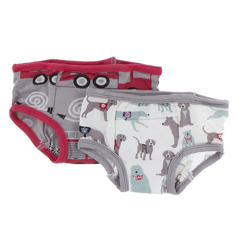 Kickee Pants Training Pants Set - Feather Firefighter & Natural Canine First Responders - Let Them Be Little, A Baby & Children's Boutique