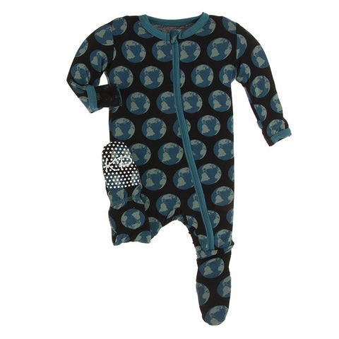 Kickee Pants Zipper Footie - Midnight Environmental Protection