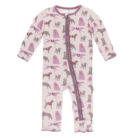 Kickee Pants Printed Muffin Ruffle Zipper Coverall - Macaroon Canine First Responders