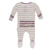 Kickee Pants Muffin Ruffle Zipper Footie - Everyday Heroes Multi Stripe