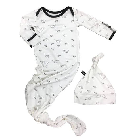 Peregrine Knotted Newborn Gown with Hat - Paper Airplanes