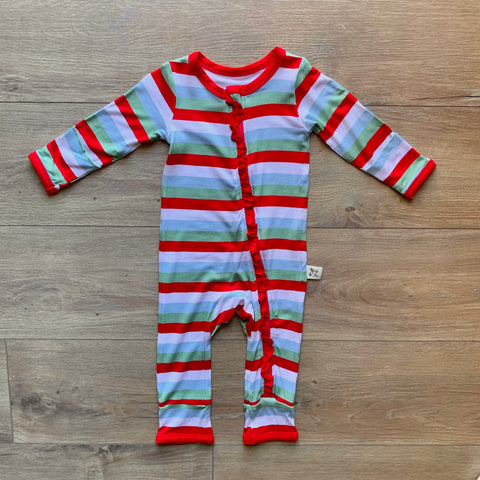 Kozi & Co Zipper Coverall w/ Ruffles - Holly Stripe - Let Them Be Little, A Baby & Children's Boutique