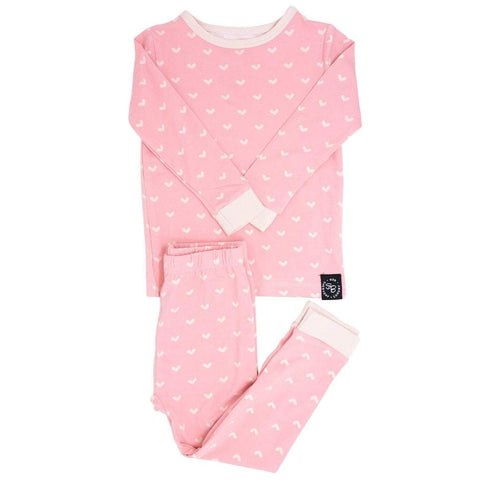 Sweet Bamboo 2 Piece PJ Set - Polka Hearts Pink