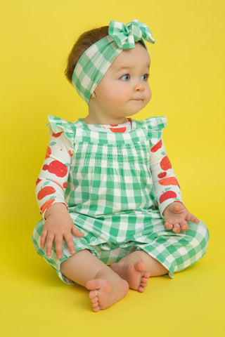 Angel Dear Smocked Front Coverall - Gingham Green