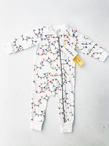 Velvet Fawn Zipper Coveralls - Christmas Lights