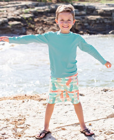 RuggedButts Long Sleeve Rash Guard - Marine Blue - Let Them Be Little, A Baby & Children's Boutique