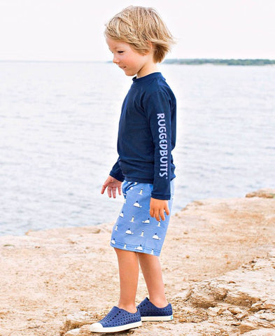 RuggedButts Long Sleeve Rash Guard - Navy - Let Them Be Little, A Baby & Children's Boutique