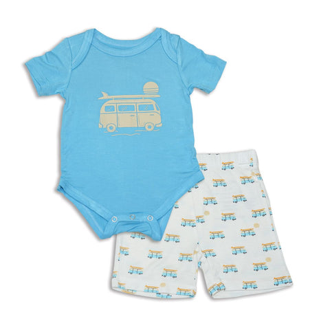 Silkberry Baby Bamboo Onesie & Shorts Set - Sunset Cruising / Surf
