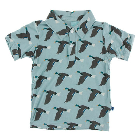 Kickee Pants Print Short Sleeve Polo - Jade Mallard Duck - Let Them Be Little, A Baby & Children's Boutique