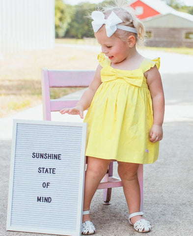 RuffleButts Flutter Bow Dress - Lemon Slub