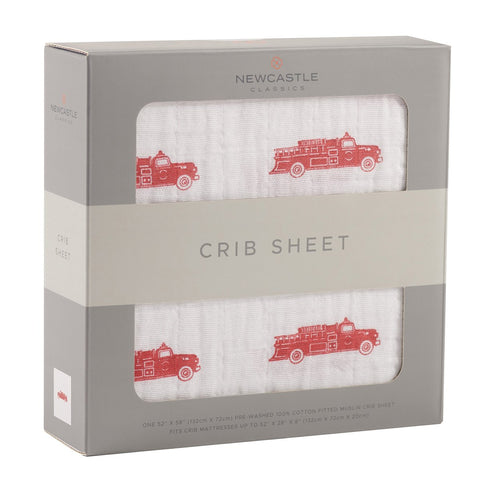 Newcastle Classics Muslin Crib Sheet - Fire Truck - Let Them Be Little, A Baby & Children's Boutique