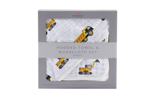 Newcastle Classics Hooded Towel & Washcloth Set - Yellow Digger - Let Them Be Little, A Baby & Children's Boutique