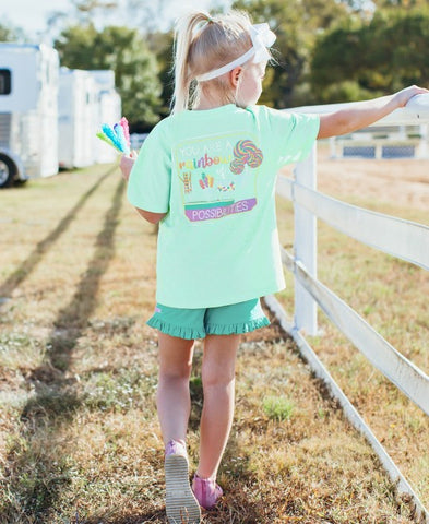 RuffleButts Signature Short Sleeve Tee - Rainbow of Possibilities - Let Them Be Little, A Baby & Children's Boutique