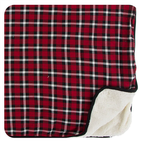 Kickee Pants Print Sherpa-Lined Toddler Blanket - Crimson 2020 Holiday Plaid