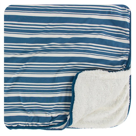 Kickee Pants Print Sherpa-Lined Toddler Blanket - Fishing Stripe - Let Them Be Little, A Baby & Children's Boutique