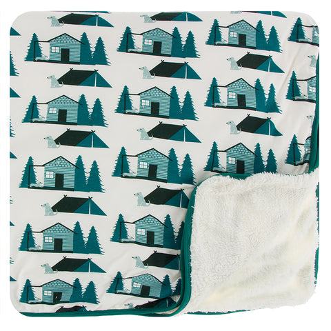Kickee Pants Print Sherpa-Lined Toddler Blanket - Natural Cabins and Tents