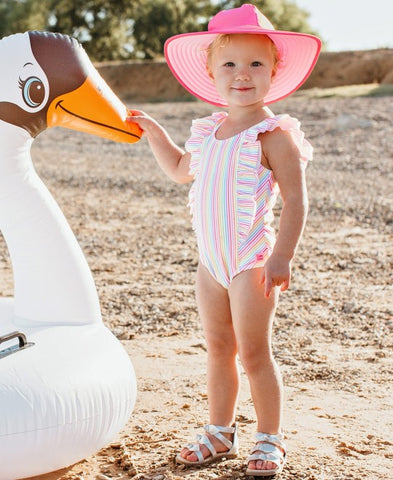 RuffleButts Swim Hat - Candy & Pink Reversible