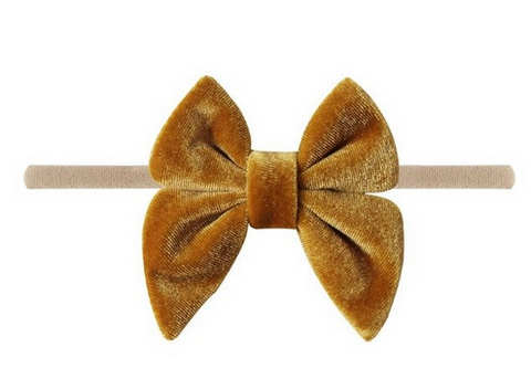 Emerson & Friends Velvet Bow w/ nylon headband - Mustard - Let Them Be Little, A Baby & Children's Boutique