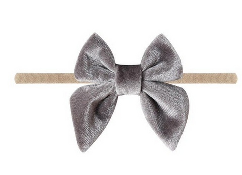 Emerson & Friends Velvet Bow w/ nylon headband - Grey