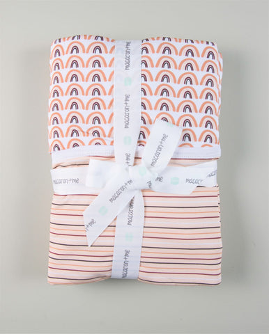 Macaron + Me Stroller Blanket - Neutral Rainbows / Neutral Stripe - Let Them Be Little, A Baby & Children's Boutique