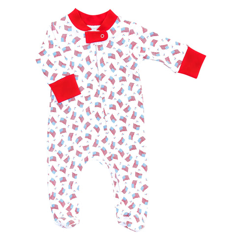 Magnolia Baby Printed Zipper Footie - Vintage Red, White, & Blue - Let Them Be Little, A Baby & Children's Clothing Boutique