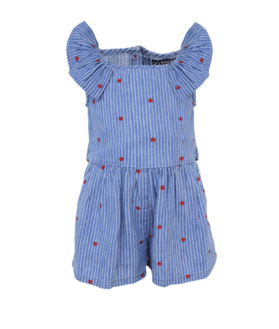 Blu & Blue Itsy Stripe Heart Romper