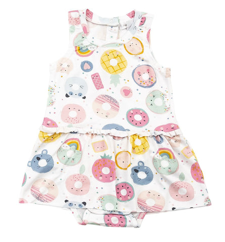 Angel Dear Sleeveless Skirted Onesie - Donut Smiles