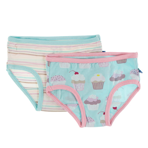 Kickee Pants Underwear Set - Summer Sky Cupcakes & Cupcake Stripe PRESALE - Let Them Be Little, A Baby & Children's Boutique