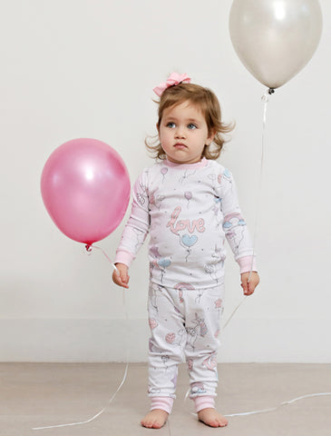 Baby Noomie 2 Piece Long Sleeve PJ Set - Balloons - Let Them Be Little, A Baby & Children's Boutique