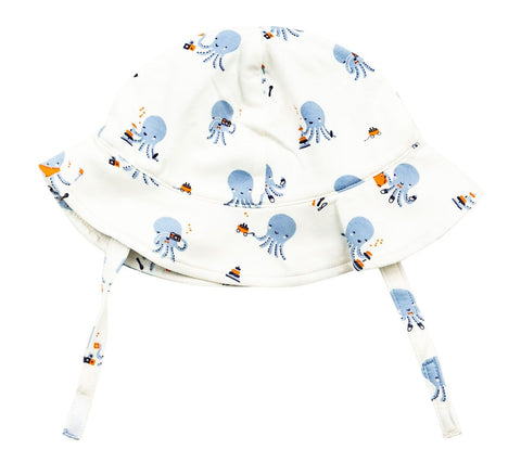 Angel Dear Bamboo Sunhat - Octopus Playtime Blue